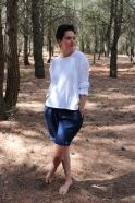 Unisex pullover, white cotton knit