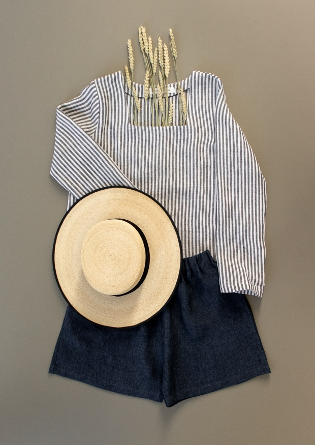 Short, indigo linen