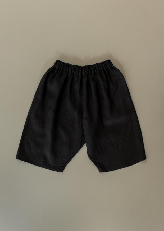 Short mixte, lin noir