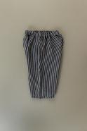 Unisex short, dark stripes linen