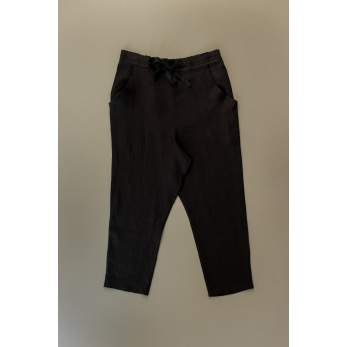 Pantalon droit Uniforme, lin noir