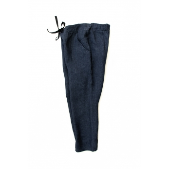 Pockets trousers, indigo linen