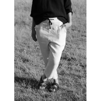 Pantalon à poches, lin épais naturel