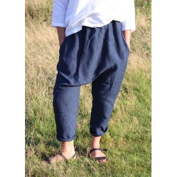 Pantalon sarouel, lin indigo