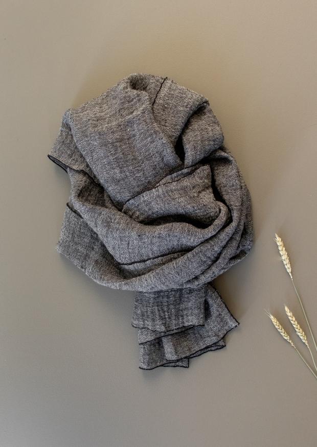 Echarpe, lin gris