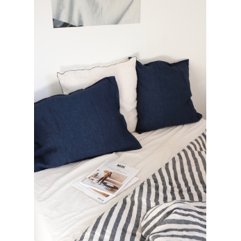 Pillow case, fine indigo linen