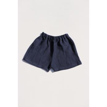 Short, indigo heavy linen