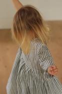 Pleated dress, long sleeves, light stripes linen