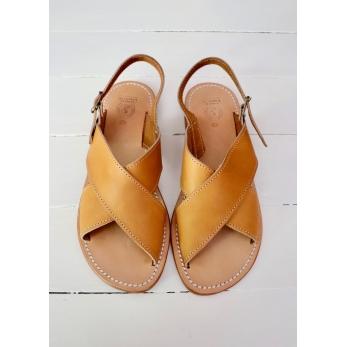 Sandales Uzes, cuir naturel