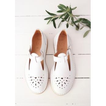 Sandales Alain, cuir blanc