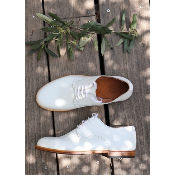 Chaussures Derby, veau blanc
