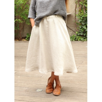 Long skirt, natural heavy linen