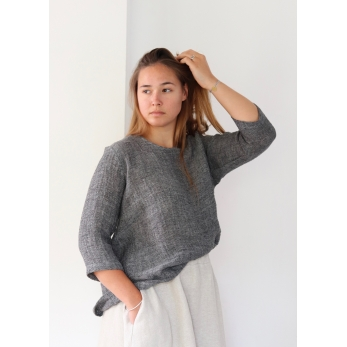 Blouse manches 3/4, col rond, lin gris
