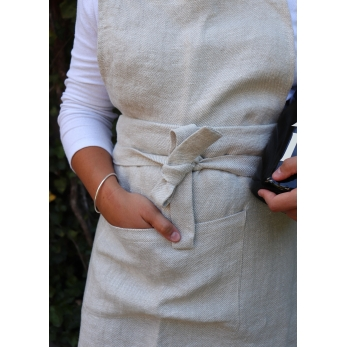 Apron, natural heavy linen