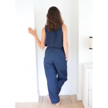 Pantalon été, lin épais indigo