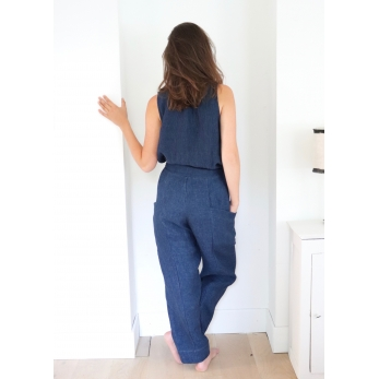 Summer trousers, indigo heavy linen