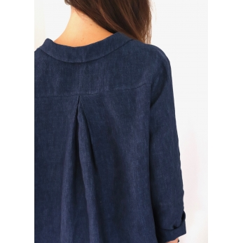 Pleated shirt, indigo linen