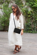 Flared dress, long sleeves, squared neck, natural linen