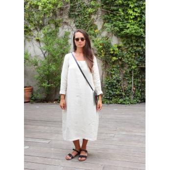 Robe évasée manches longues, col carré, lin naturel