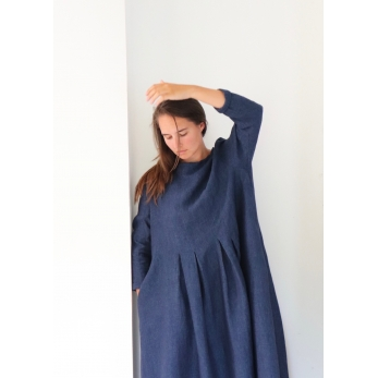 Long sleeves pleated long dress, indigo linen