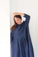 Long sleeves pleated long dress, indigo linen