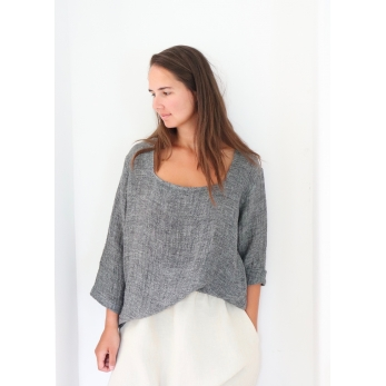 3/4 sleeves blouse squared neck, grey linen