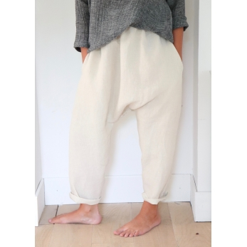 Pantalon sarouel, lin naturel