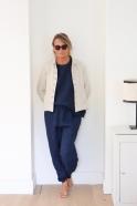 Veste tailleur, lin épais naturel