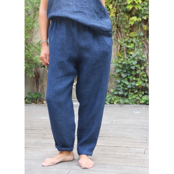 Pantalon classique, lin épais indigo