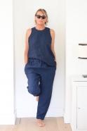 Classic trousers, indigo heavy linen