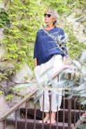 3/4 sleeves blouse round neck, indigo linen