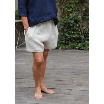 Short, natural heavy linen