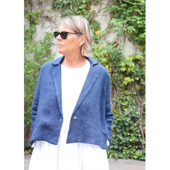 Flared jacket, indigo heavy linen