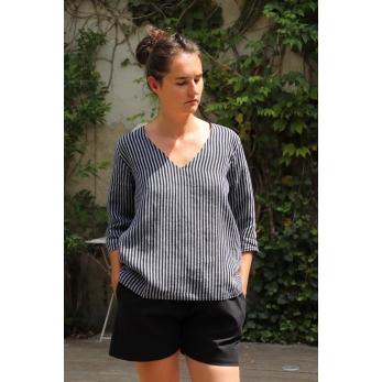 3/4 sleeves blouse V neck, dark stripes linen