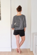 Blouse manches 3/4, col V, lin rayures sombres