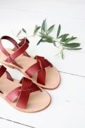 Sandales Pac, cuir bordeaux