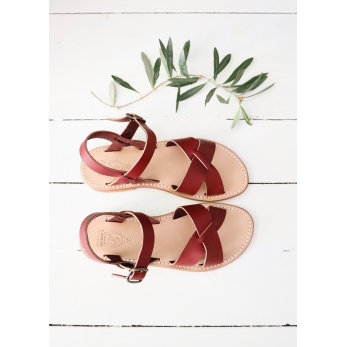 Sandals Pac, burgundy leather