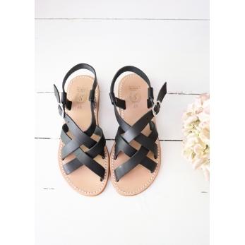 Sandales Bréhat, cuir noir