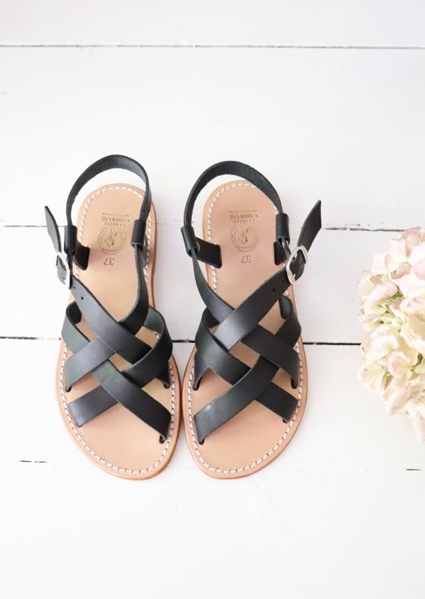 Sandals Brehat, black leather