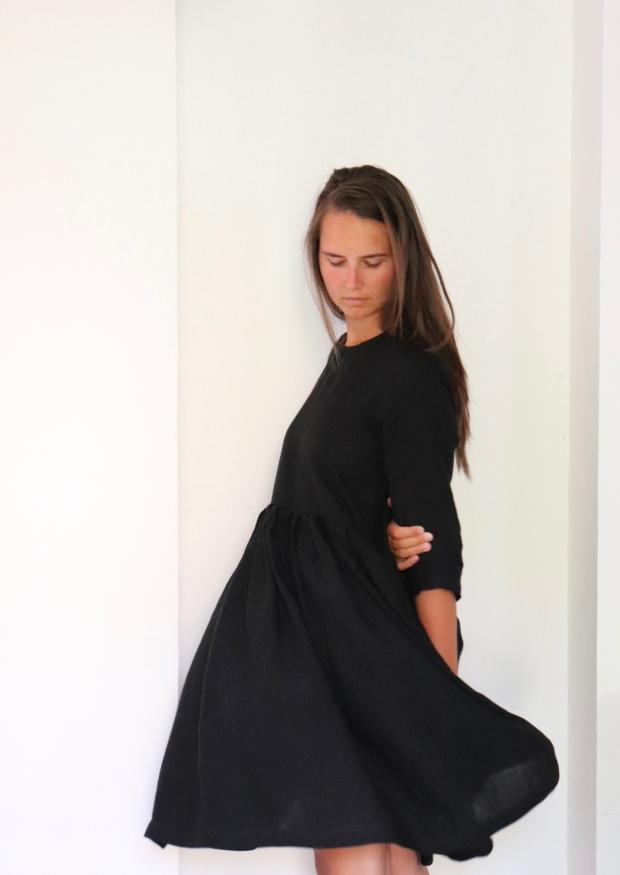 Robe à plis manches 3/4, lin noir