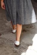Robe à plis manches 3/4, lin gris