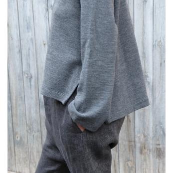 Pull évasé, jersey epais gris clair