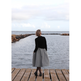 Long skirt, grey wool blend
