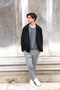 Man jacket, black flannel
