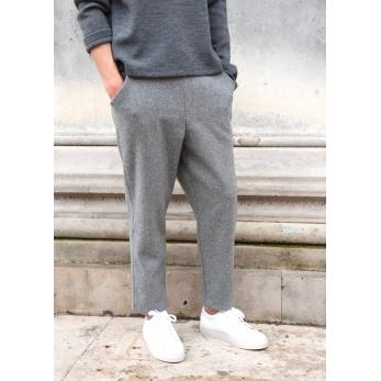 Pantalon à poches pour homme, lainage gris
