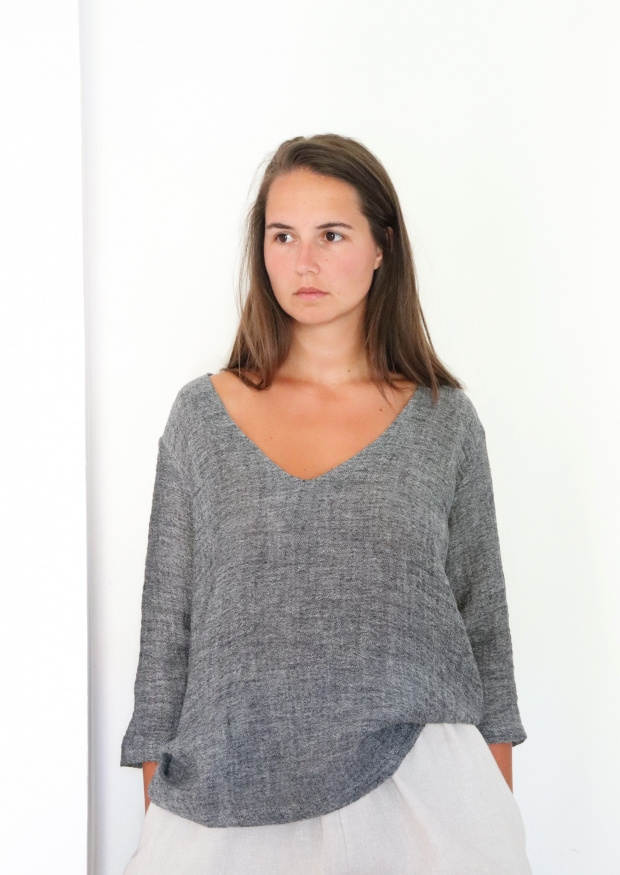 Blouse manches 3/4, col V, lin gris