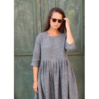 Pleated dress,  3/4 sleeves, grey linen