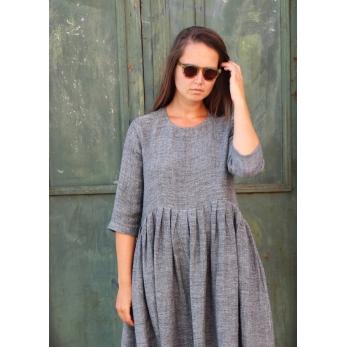 Pleated dress,  3/4 sleeves, grey linen