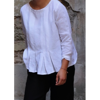 Long sleeves pleated blouse, white linen