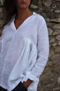 Long sleeves pleated blouse, white linen